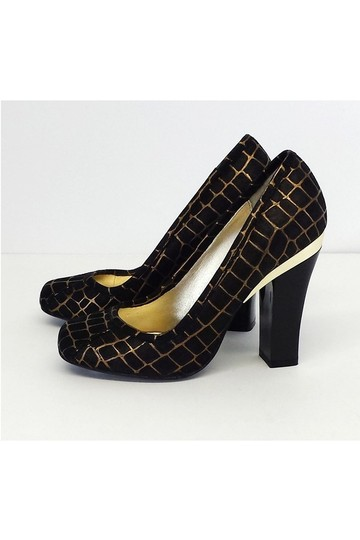 Elaine Turner Gold Print Suede black Pumps Image 3