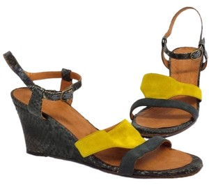 Chie Mihara Finde Suede Leather Colorblock Wedge yellow Sandals