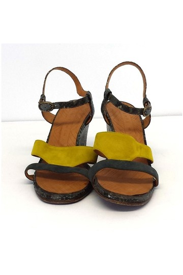Chie Mihara Finde Suede Leather Colorblock Wedge yellow Sandals Image 1