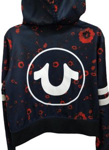 True Religion Hoodie Unique Navy blue with red flowers Jacket