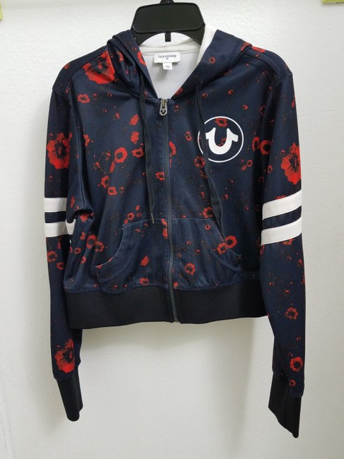 True Religion Hoodie Unique Navy blue with red flowers Jacket Image 1
