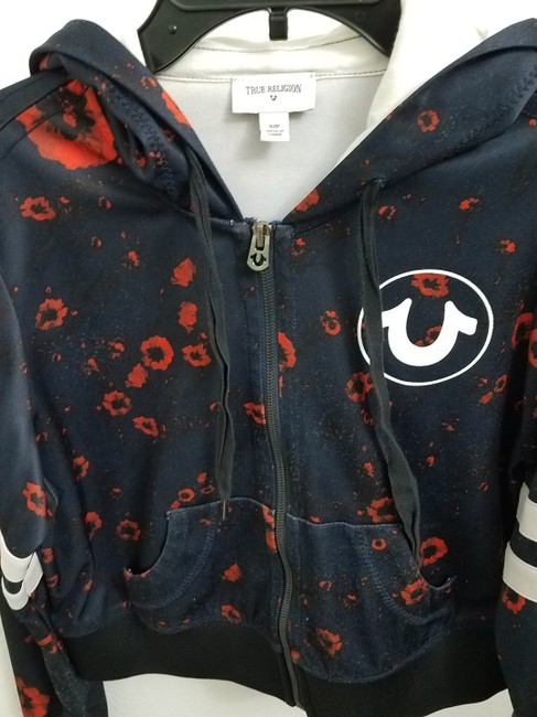 True Religion Hoodie Unique Navy blue with red flowers Jacket Image 3