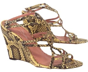 Alexandra Neel Snakeskin Leather Wedge brown Sandals