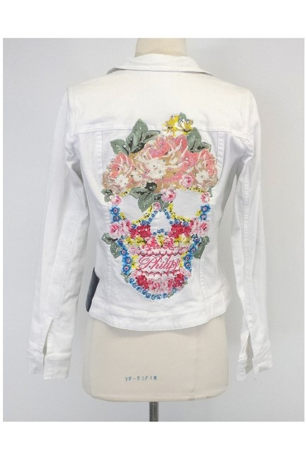 Philipp Plein Limited Ed. Multicolor Denim Skull white Jacket Image 2