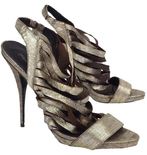 Elizabeth and James Jan Metallic Leather Strappy gold Sandals Image 0