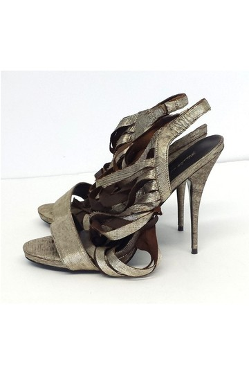Elizabeth and James Jan Metallic Leather Strappy gold Sandals Image 1