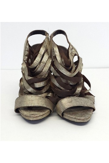 Elizabeth and James Jan Metallic Leather Strappy gold Sandals Image 2