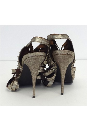 Elizabeth and James Jan Metallic Leather Strappy gold Sandals Image 3