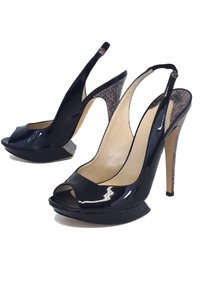 Nicholas Kirkwood Patent Leather Platform Slingbacks black Pumps