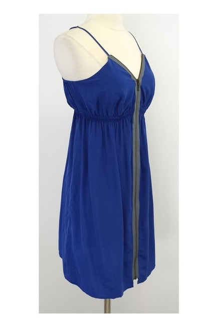 Twelfth St. by Cynthia Vincent short dress blue Street Gray Silk Zip Front on Tradesy Image 1