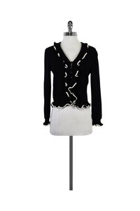 St. John Navy Cream Ruffled Cardigan