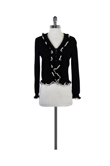 St. John Navy Cream Ruffled Cardigan Image 0