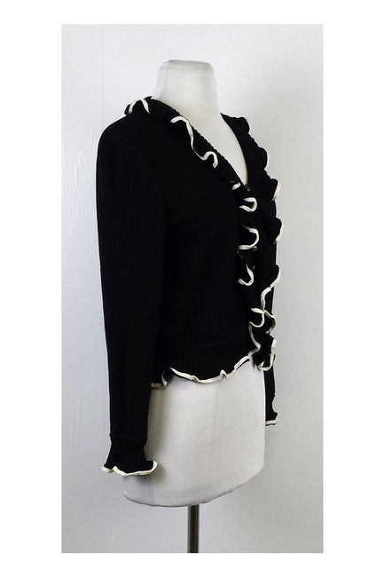 St. John Navy Cream Ruffled Cardigan Image 1