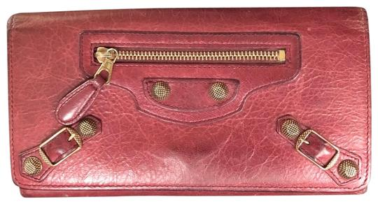 Balenciaga BALENCIAGA Lether Bifold Long Wallet Burgundy Image 0