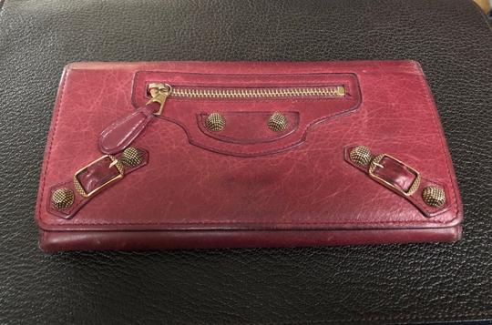 Balenciaga BALENCIAGA Lether Bifold Long Wallet Burgundy Image 1