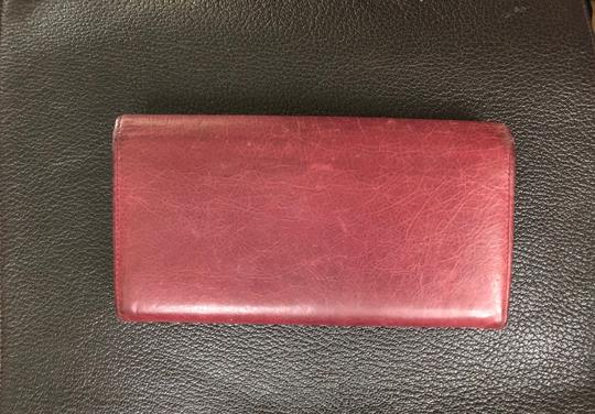 Balenciaga BALENCIAGA Lether Bifold Long Wallet Burgundy Image 2