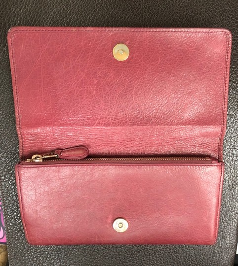 Balenciaga BALENCIAGA Lether Bifold Long Wallet Burgundy Image 3