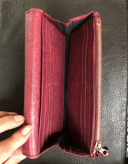 Balenciaga BALENCIAGA Lether Bifold Long Wallet Burgundy Image 4
