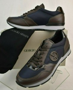 Giorgio Armani Brown Blue Textured Leather Lace Up Logo Sneakers 11 M Italy Shoes