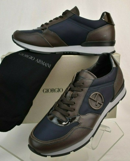 Preload https://img-static.tradesy.com/item/25195663/giorgio-armani-brown-blue-textured-leather-lace-up-logo-sneakers-11-m-italy-shoes-0-0-540-540.jpg