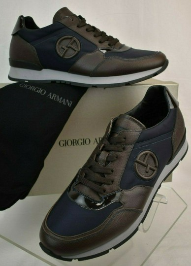 Giorgio Armani Brown Blue Textured Leather Lace Up Logo Sneakers 11 M Italy Shoes Image 1
