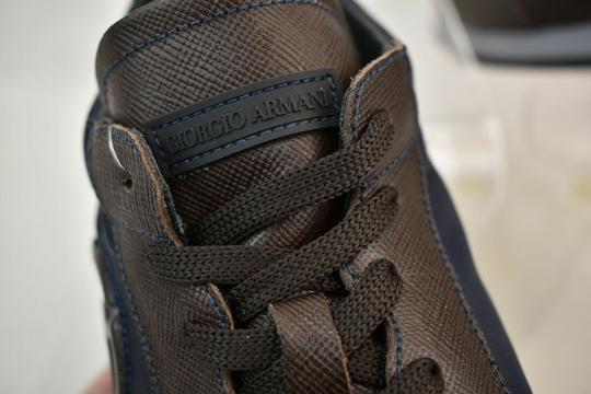 Giorgio Armani Brown Blue Textured Leather Lace Up Logo Sneakers 11 M Italy Shoes Image 10