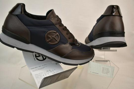 Giorgio Armani Brown Blue Textured Leather Lace Up Logo Sneakers 11 M Italy Shoes Image 2