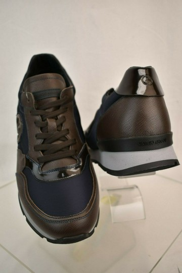 Giorgio Armani Brown Blue Textured Leather Lace Up Logo Sneakers 11 M Italy Shoes Image 3