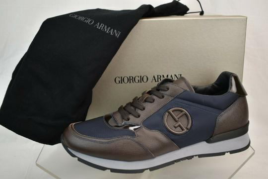 Giorgio Armani Brown Blue Textured Leather Lace Up Logo Sneakers 11 M Italy Shoes Image 5