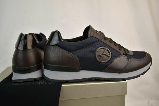 Giorgio Armani Brown Blue Textured Leather Lace Up Logo Sneakers 11 M Italy Shoes Image 6