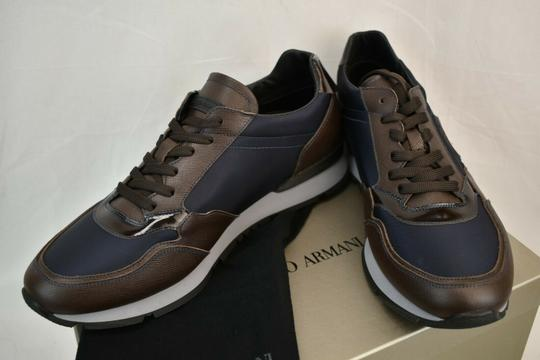 Giorgio Armani Brown Blue Textured Leather Lace Up Logo Sneakers 11 M Italy Shoes Image 7