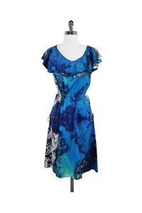Christian Siriano short dress blue Green Abstract Print Silk on Tradesy