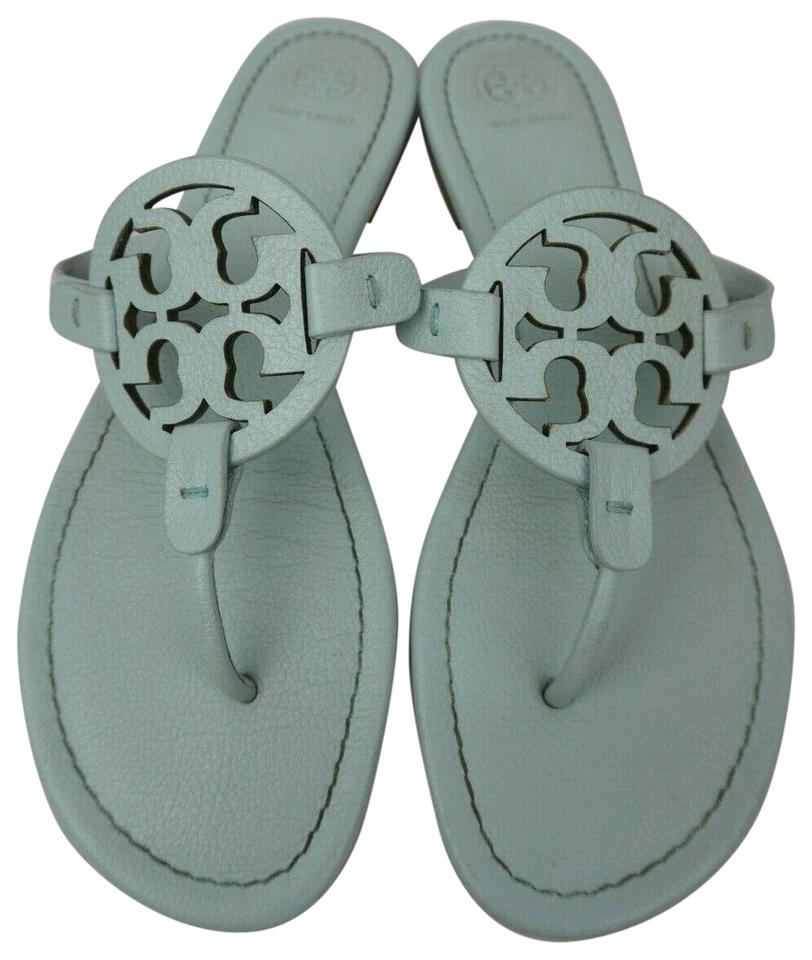 11fab0ae5386 Tory Burch Blue Miller Flip Flops Seltzer Pebbled Leather Sandals ...