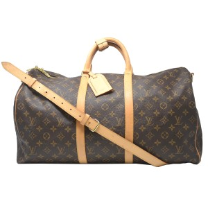 645810d6fefa Louis Vuitton Keepall 50 Bandouliere Monogram Canvas Duffle Brown Travel Bag