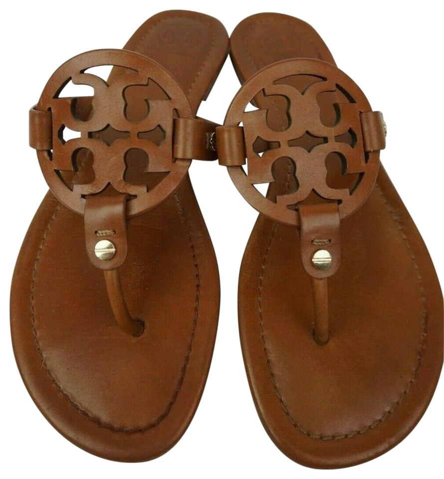 673e2bf86ffc Tory Burch Brown Miller Flip Flops Vintage Vachetta Leather Sandals ...