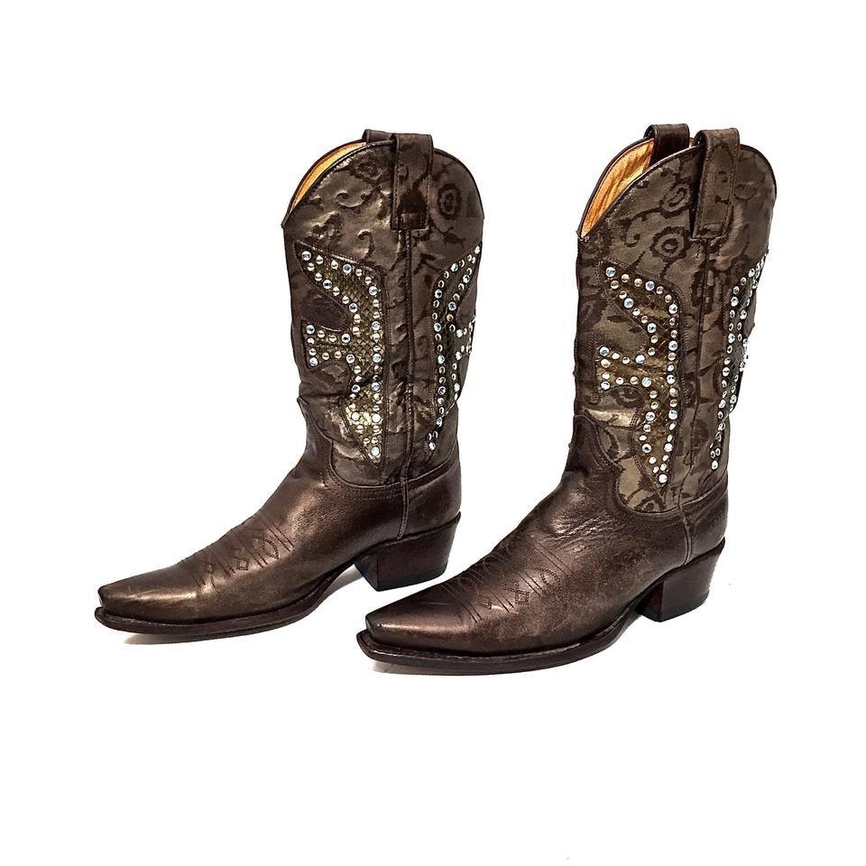 2f90674f762 Frye Ash Brown Daisy Duke Crystal Leather Boots/Booties Size US 6 Regular  (M, B)