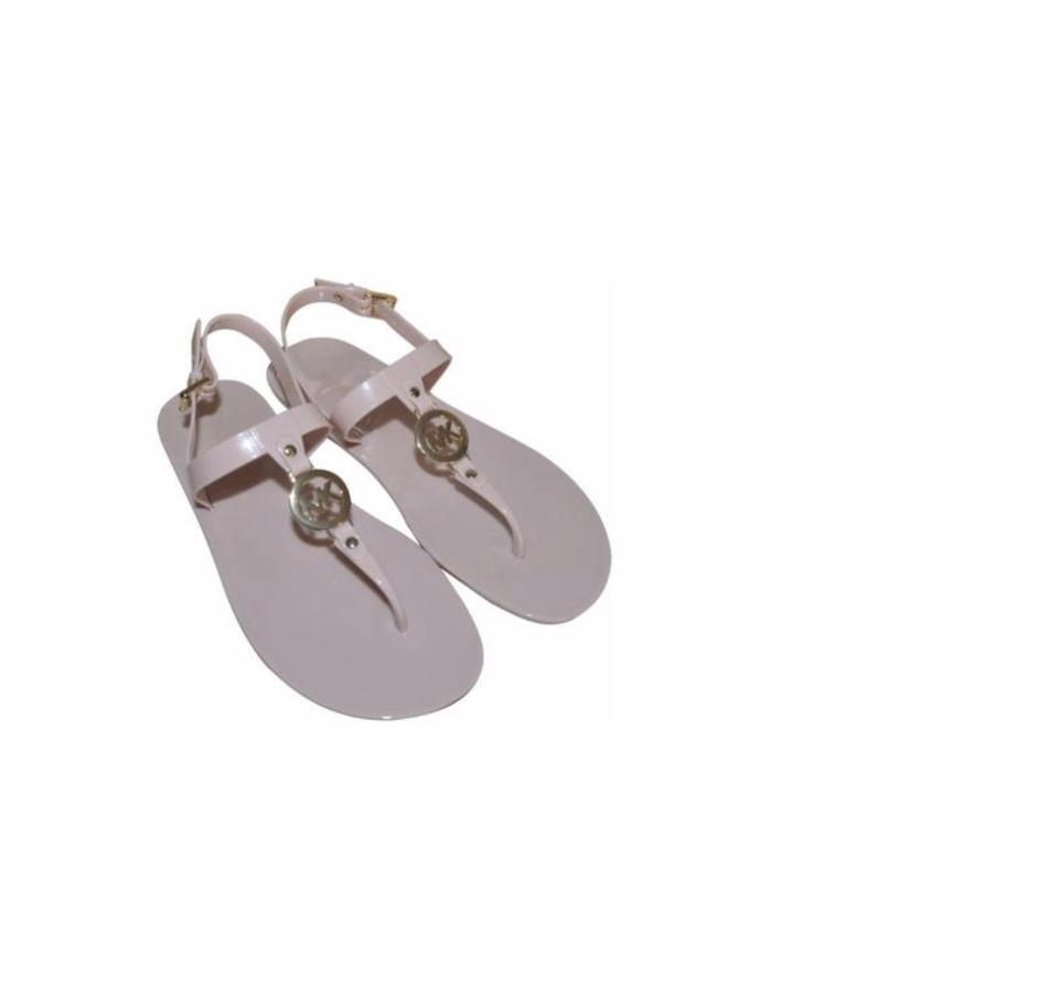0aa6cd2a8 Michael Kors Soft Pink Gold New Sondra Jelly Flip Flip Flops Sandals ...