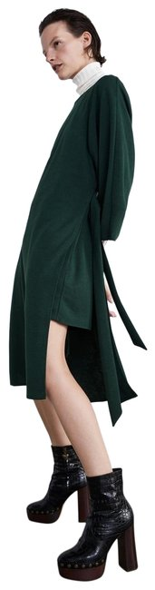 Item - Green Mid-calf Belted with Loops & Bell Sleeve New Mid-length Short Casual Dress Size 6 (S)