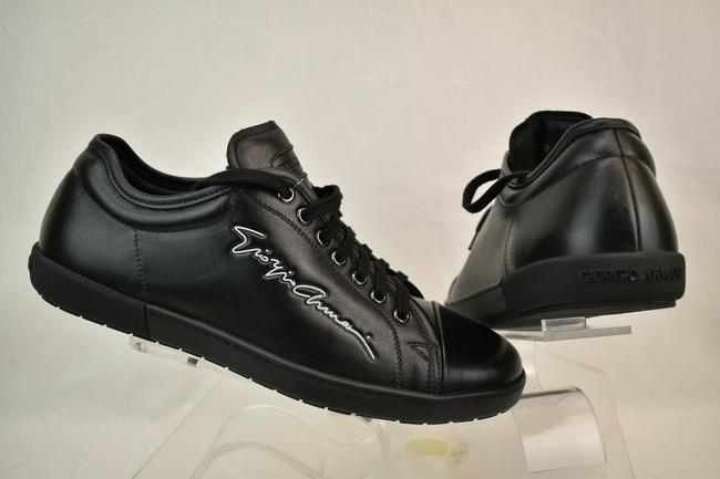 Item - Black Leather Lettering Logo Lace Up Low Top Sneakers 10 Italy Shoes