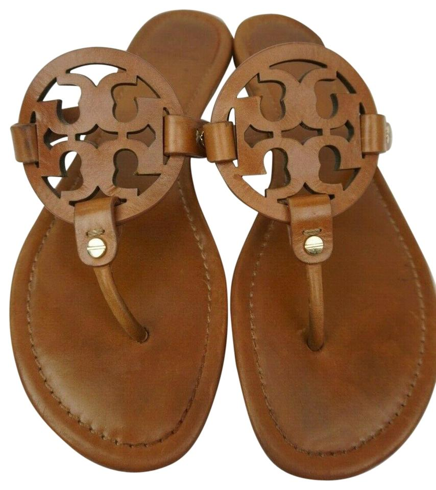 602744b81d16 Tory Burch Brown Miller Flip Flops Vintage Vachetta Leather Sandals ...