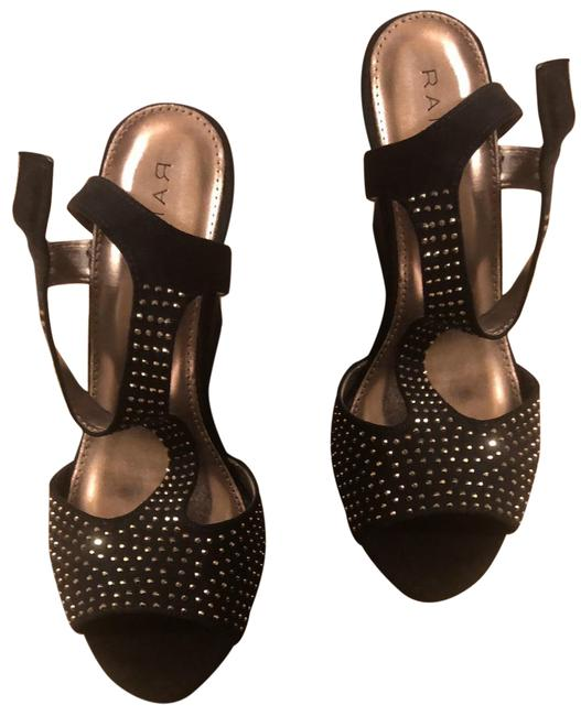 Item - Black and Silver Wedges Size US 9 Regular (M, B)