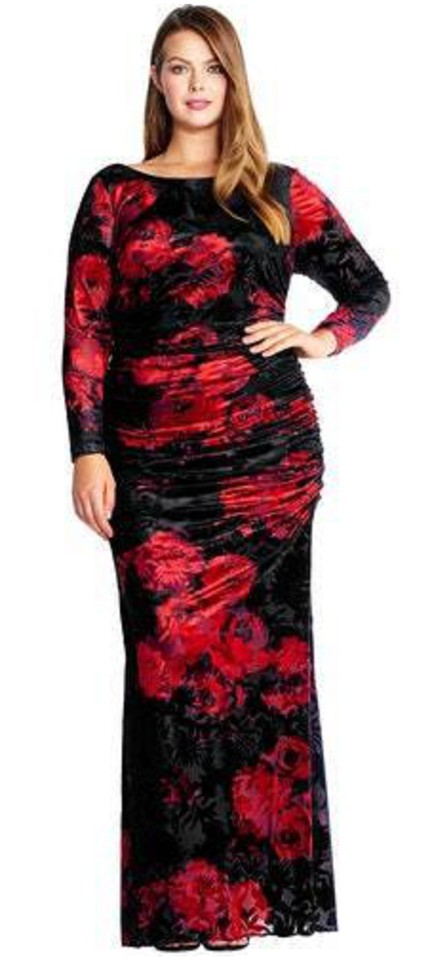 Adrianna Papell Cardinal Red Black Rose Print Velvet Gown Sleeve Long  Formal Dress Size 20 (Plus 1x) 32% off retail