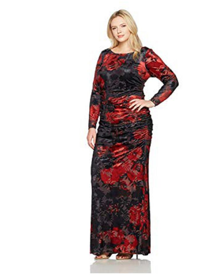 Adrianna Papell Cardinal Red Black Rose Print Velvet Gown Sleeve Long  Formal Dress Size 22 (Plus 2x) 32% off retail