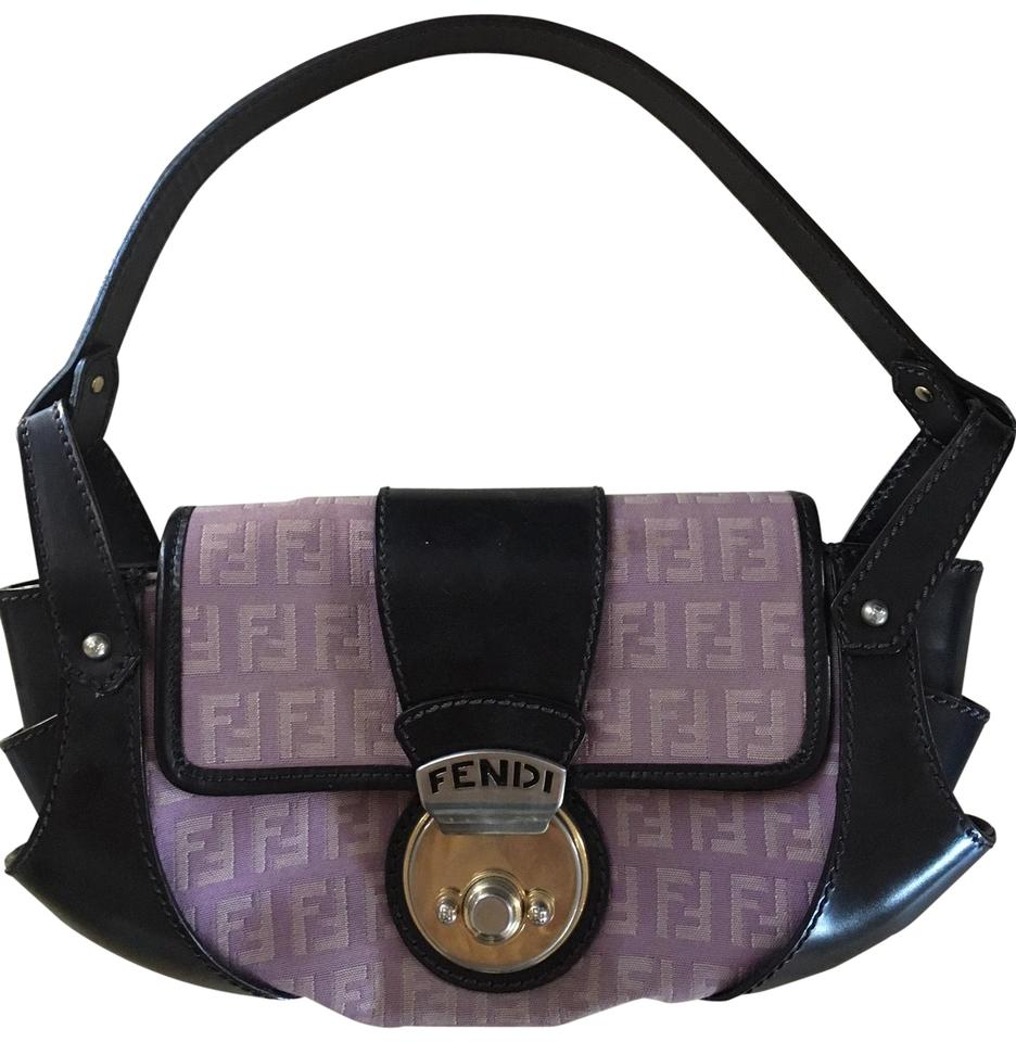 b51e0b4243 Fendi Compilation Handbag Purple/Black Leather Shoulder Bag - Tradesy