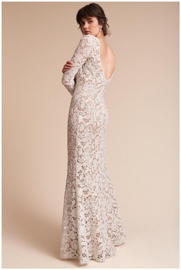BHLDN Ivory and Nude Lace Medallion Vintage Wedding Dress Size 12 (L) Image 3
