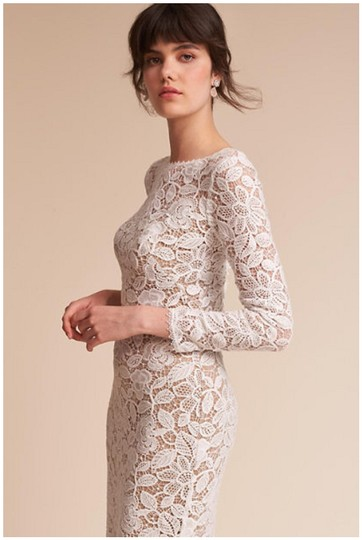 BHLDN Ivory and Nude Lace Medallion Vintage Wedding Dress Size 12 (L) Image 5