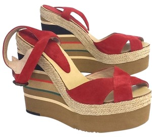 0c87805992a5 Andre Assous Pipoan Suede Striped Platform Red Wedges