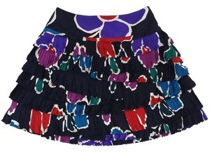 Marc by Marc Jacobs Multicolor Print Pleated Tiers Skirt Black