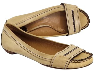 Chloe Beige Leather Moccasin Loafers Pumps