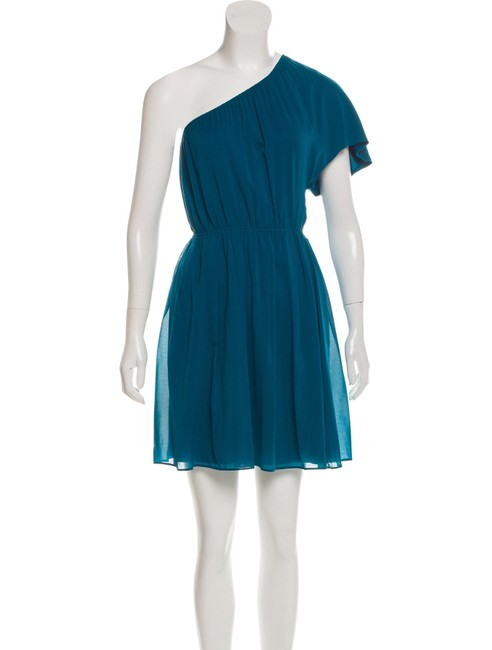 Item - Blue Green One Shoulder Silk Short Casual Dress Size 2 (XS)